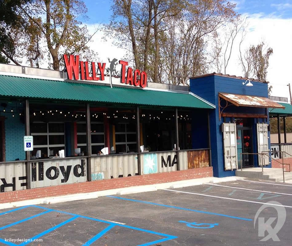 Custom metal work for Willy Taco fabricated by K Riley Designs  : krileydesigns.com