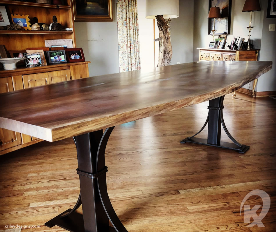 Custom wood and metal table by K Riley Designs : krileydesigns.com