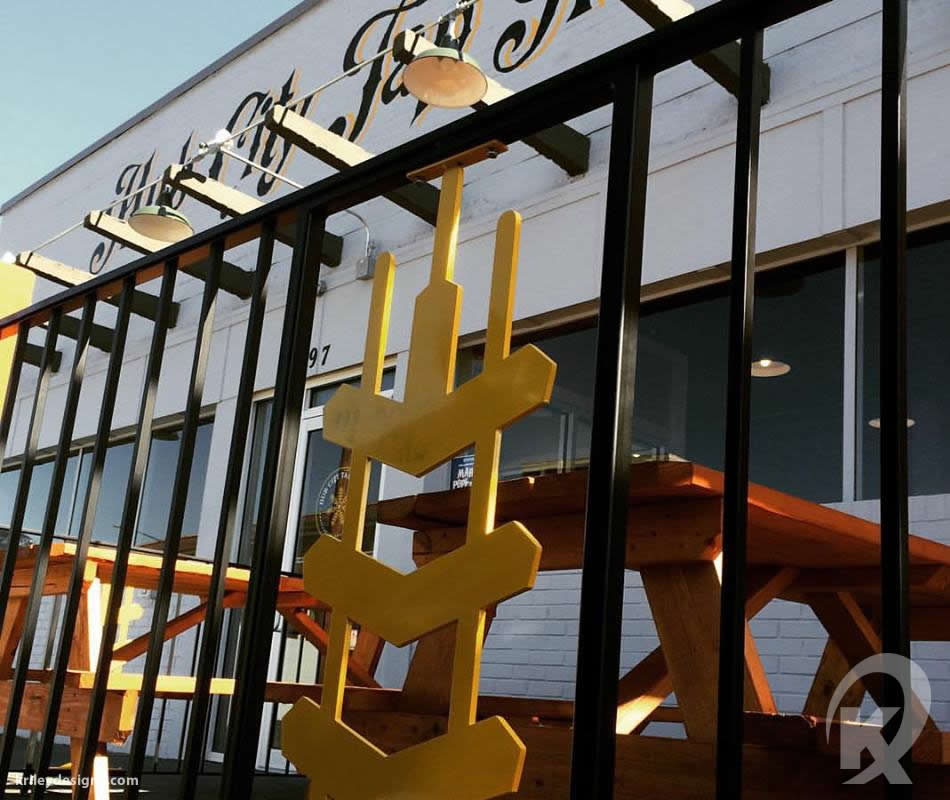 Custom restaurant fabrication for Hub City Tap House by K Riley Designs : krileydesigns.com