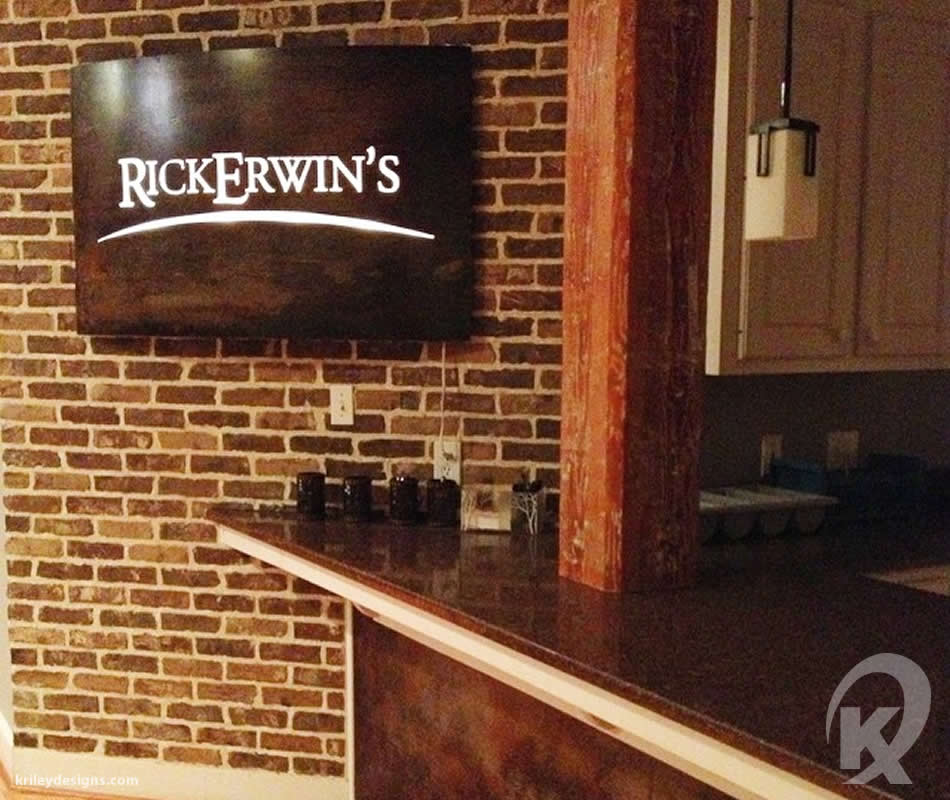 Custom restaurant fabrication for Rick Erwins by K Riley Designs : krileydesigns.com